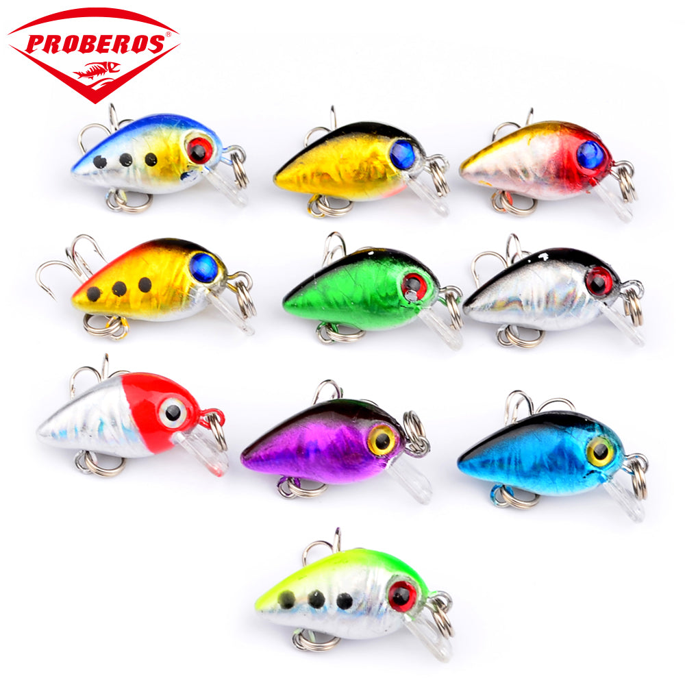 10pc Mini fishing lures 10 colors Fishing bait 2.6cm/1.6g fishing tackle #10 high carbon steel Treble hook