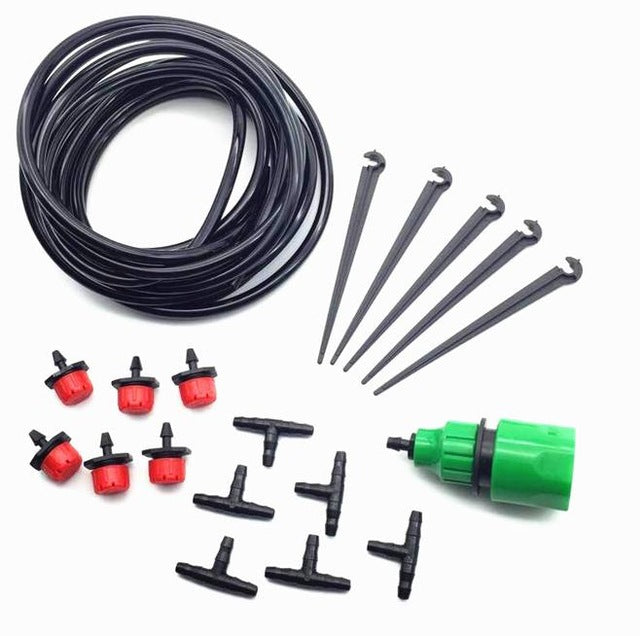 1 sets Mini Automatic Watering Kit 4 / 7mm hose Irrigation Dripper hose bracket 1/4 '' tee Quick Connector for Garden Irrigation