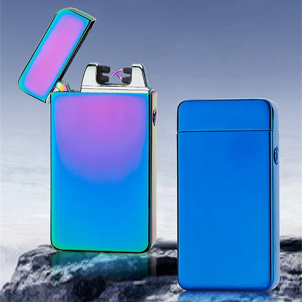 USB Electric Dual Arc Metal Flameless Torch Rechargeable Windproof Lighter Double arc pulse cross ligthers smoking lighter