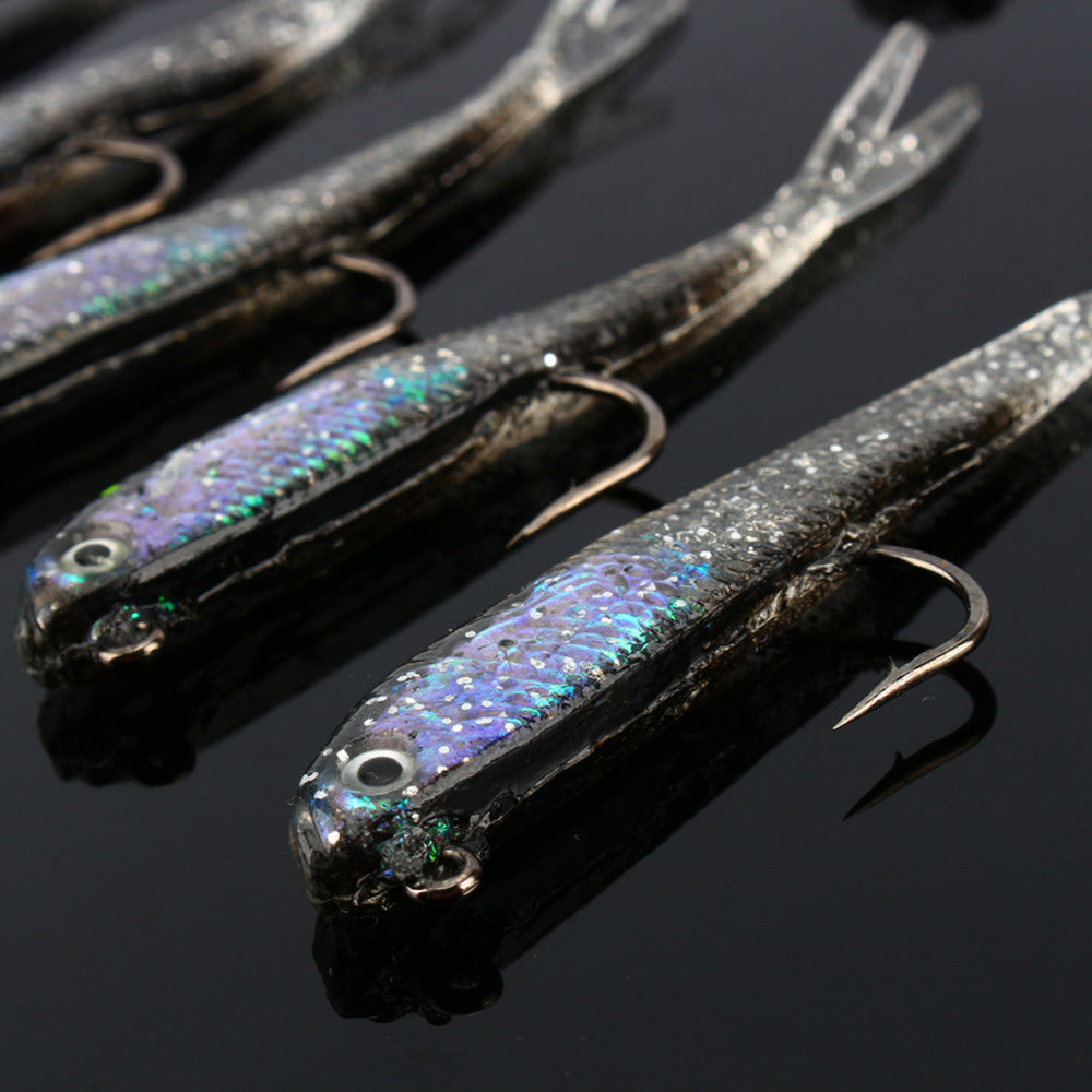10pcs/Lot Silicone Lead Head Jig Soft Fishing Lures Blank Crank Hook Artificial Minnow Bait Saltwater Sea Fishing Tackle Set