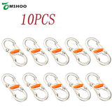 10Pcs/Lot Stainless Steel 8-Shape Camping Carabiner Keychain Buckle Snap Clip Outdoor Climbing Camping Equipment Survival Kits