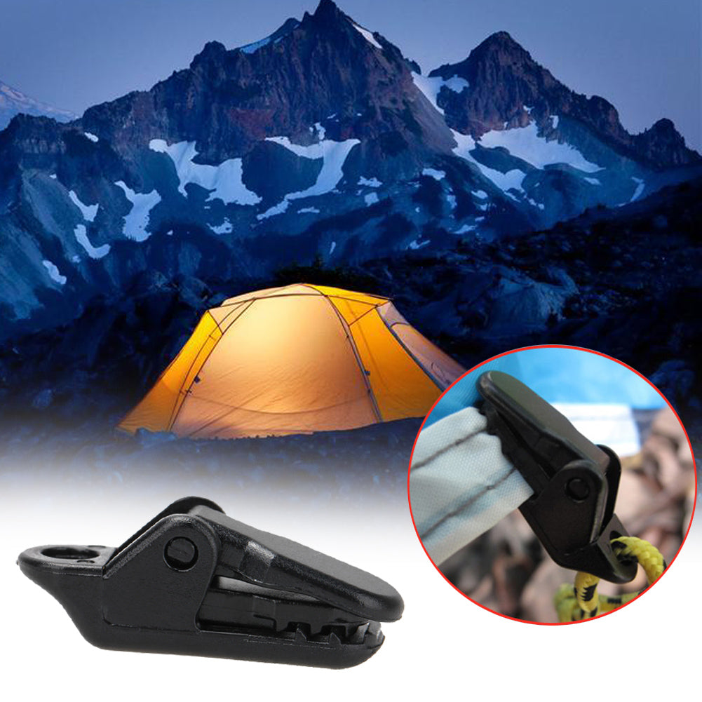 10Pcs Tent Hool Tent Awning Clip Clamp Tarp Set Tarpaulin Clip Snap Tent Camping Hiking Survival Tighten Tool Emergency Gear