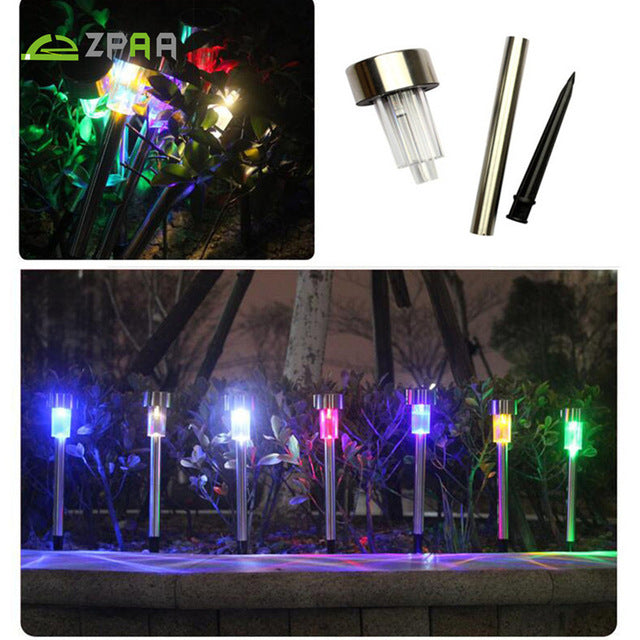 10 Pcs Outdoor Stainless Steel Solar Power 7 Color Changing LED Garden Landscape Path Pathway Lights Lawn Lamp Solar Panel Light