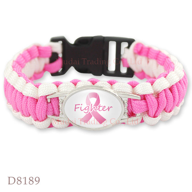 (10 PCS/lot) Pink Breast Cancer Fighter Awareness Ribbon Paracord Bracelet Survival Friendship Outdoor Camping Sports Jewelry