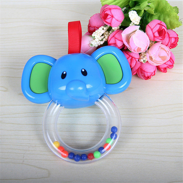 0-3 Year Cute Safety Baby Rattle hand Bell Ring Bell Toy 2 Style Elephant Calf  Animals Toys Gift for Baby 0-24Months