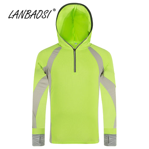 LANBAOSI Sun UV Protection Fishing Clothing for Men Quick Dry Shirt Long Sleeve Hooded Jackets Breathable Tourism Jacket Clothes