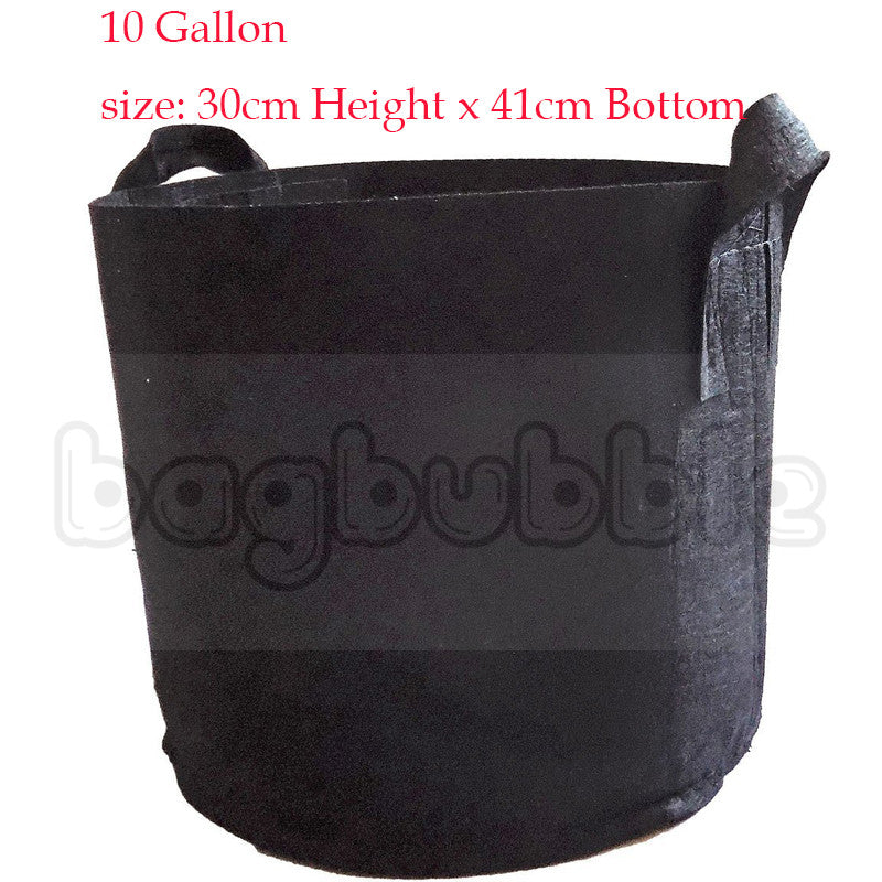 10 Gallon Grow Bag Aeration Fabric Pots with Handles Black Outdoor Black Container Gardening Planter Pot for Tomatoes Flowers