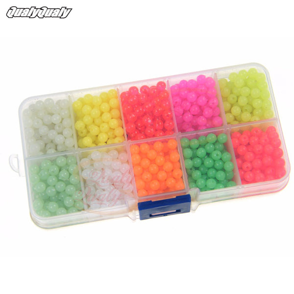 1000 Pcs/Box 4mm Plastic Round Luminous Fishing Beads Glow InThe Dark Freshwater Fishing Rigs Lure Floating Float Bait Tackles