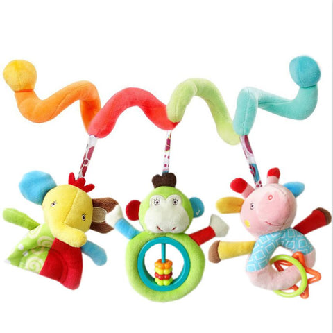 Infanty newborn baby rattles toys 0-12 month baby cute soft animal hanging bed safety seat plush doll mobiles Puppet