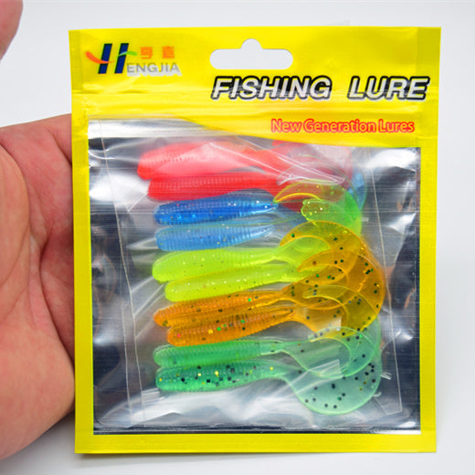 10 Pcs/pack 6cm 2g Mixed Colors Artificial Curly Tail Maggots Grub Worm Fishing Lures Soft Grubs  Sea River Lake Fishing YR-155