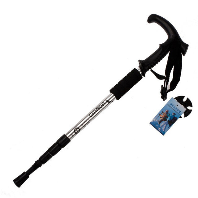 1pcs Walking stick Hiking Walking Trekking Trail Poles Ultralight Walking Protector 4-section Adjustable Canes High Quality