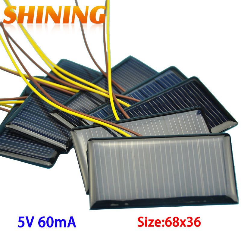 10Pcs/lot Solar Panel Solar Cell Polycrystalline Silicon Placa Solar DIY Panneau Solaire Solar Cells Modules 5V 60mA 68*37*3mm