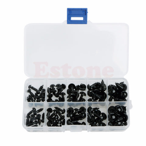 New 100pcs/Set 6-12mm Plastic Safety Eyes For Teddy Bear Doll Animal Puppet Crafts Black