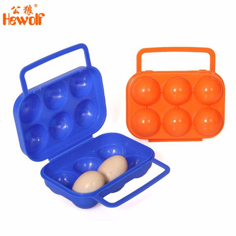 Hewolf Outdoor Portable 6 Grids Egg Storage Tray Box For Camping Picnic BBQ Eco-friendly ABS Waterproof Shockproof