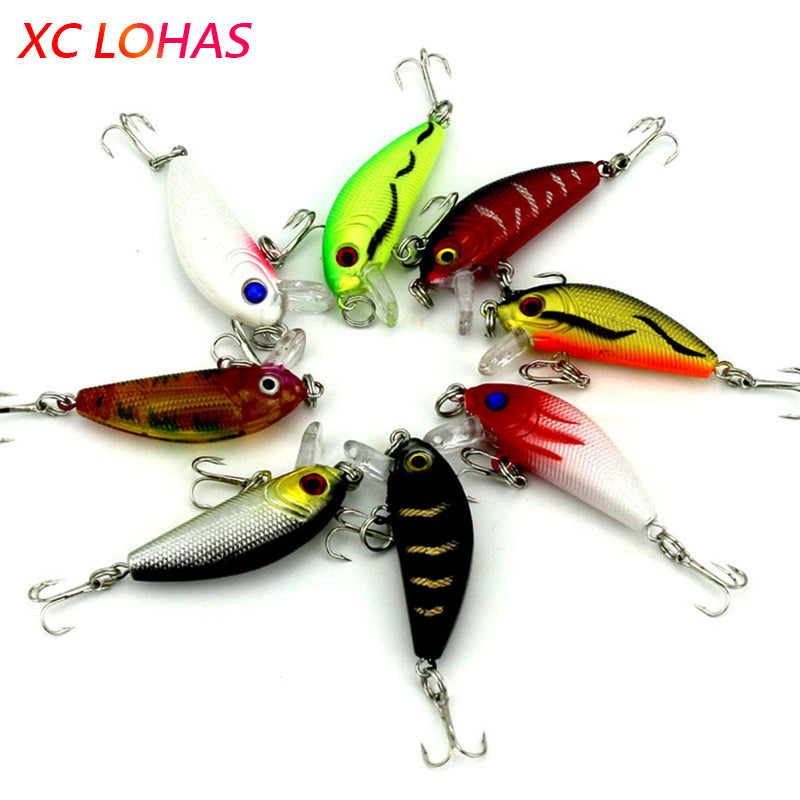 1 Piece 8 Colors Artificial Fishing Lure Fake Bait with Hooks 3D Fish Eye High Fishing Lures for Sea Fishing