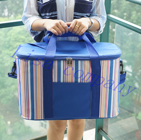 Large 34L Insulated Picnic Bag Lunch Bag Outdoor Camping Hiking Picnic Bags Portable Food Storage Basket Handbags Lunch Box