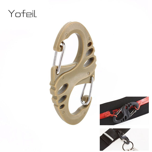 10Pcs/Lot S Type Backpack Clasps Climbing Carabiners EDC Keychain Camping Bottle Hooks Paracord Tactical Survival Gear Wholesale