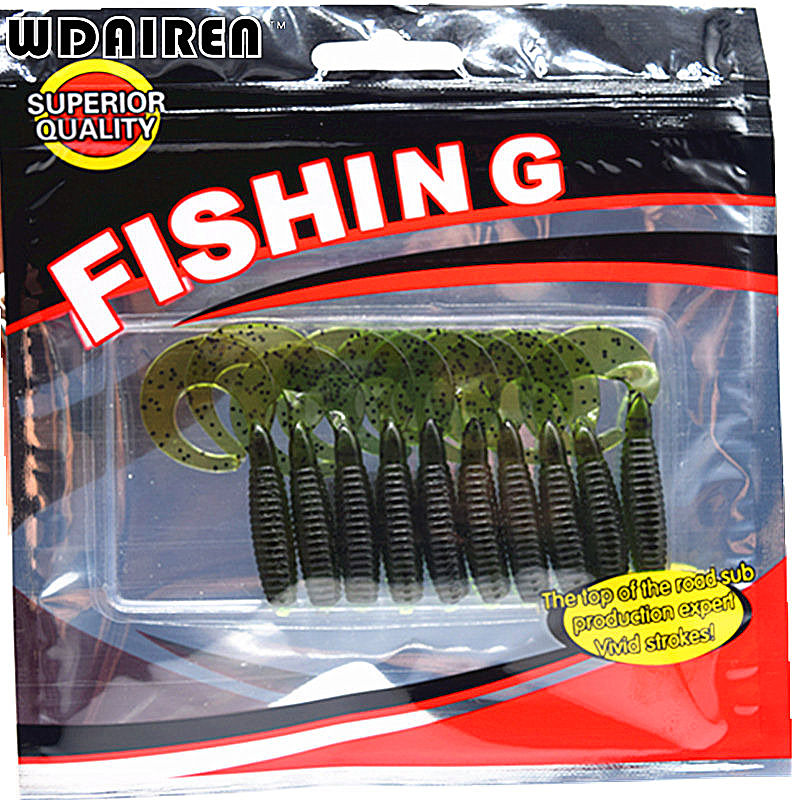 10pcs/lot Screw curly tail soft 55mm 2.2g wobbler jigging with salt smell Capuchin Maggots fishing lure silicone bait FA-340