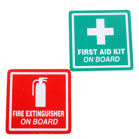"1 Pair 2"" Fire Extinguisher First Aid Stickers Kit Road Industrial Safety"