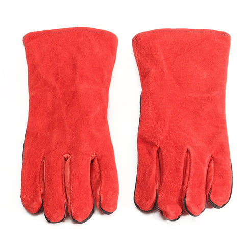 XL Leather Welder Gauntlet Log Fire High Temperature Protection Long Glove Stove Safety Gloves