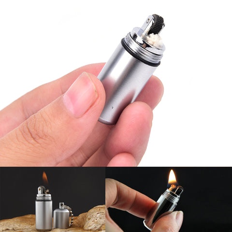 1Pc Keychain Waterproof Fire Starter Capsule Oil Petrol Gas Lighter Match Fuel Bushcraft Survive Camp Hike Cigarette Cigar