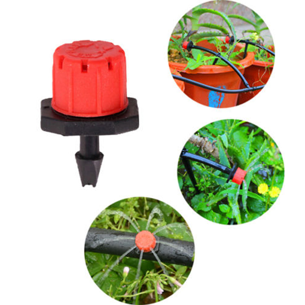 "100 Pcs Adjustable Garden Irrigation Misting Micro Flow Dripper Head Drip System On 1/4"" Barb watering"
