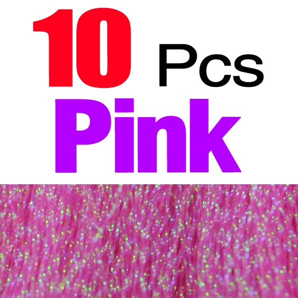 10 Packs Crystal Holographic Flashabou Crystal Flash Tinsel Fly Tying Materials Twisted Strands Tinsel Wing Tail Craft 7 Colors