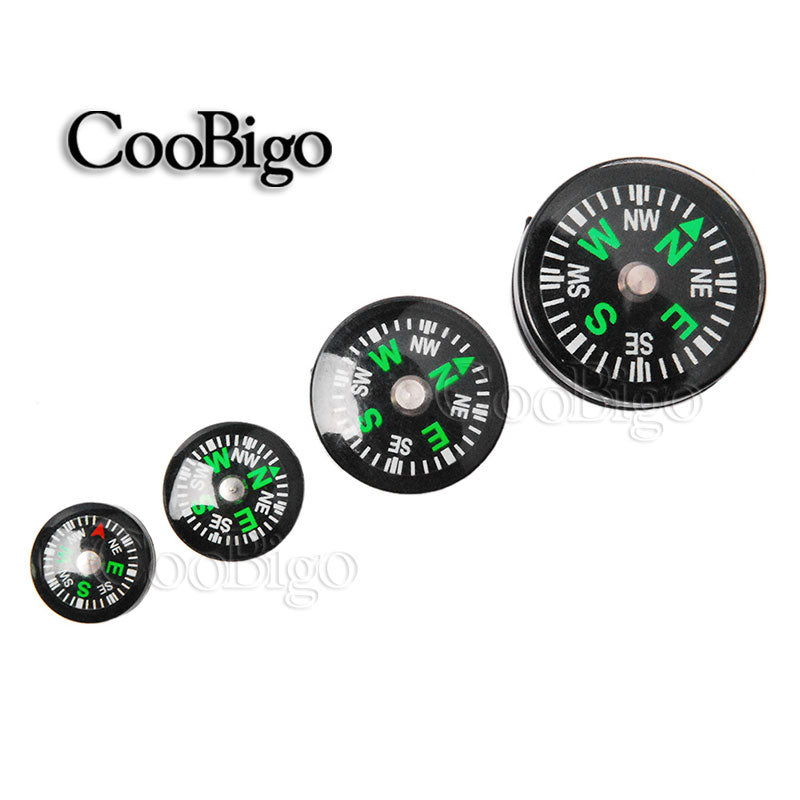 100pcs Pack Size 25/20/14/12mm Clear Liquid-filled Button Small Mini Survival Compass for Outdoor Sports Camping Hiking #FLQ177