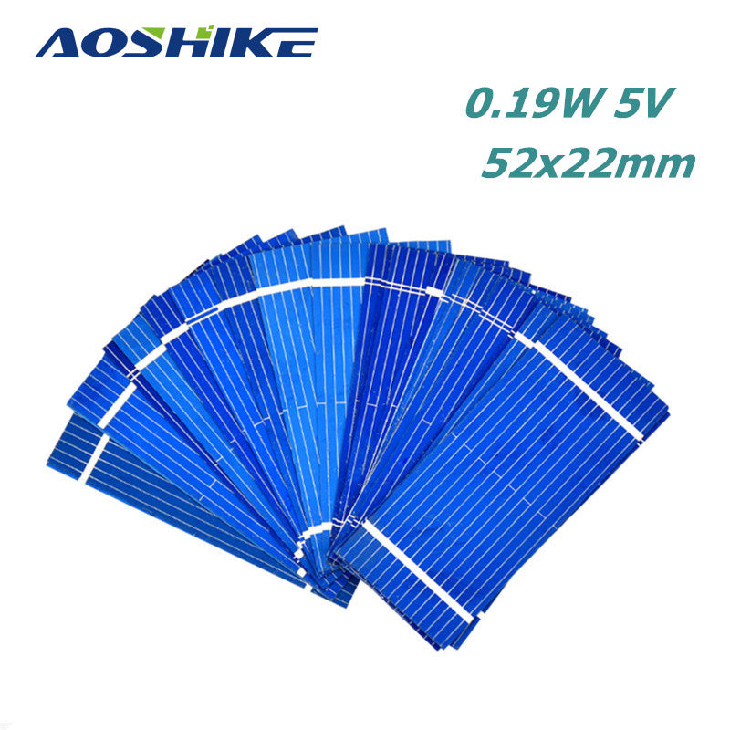 100Pcs Aoshike Solar Panel China Painel Solar Sunpower Polycrystalline DIY Solar Battery Charger 52*22mm 0.19W 0.5V