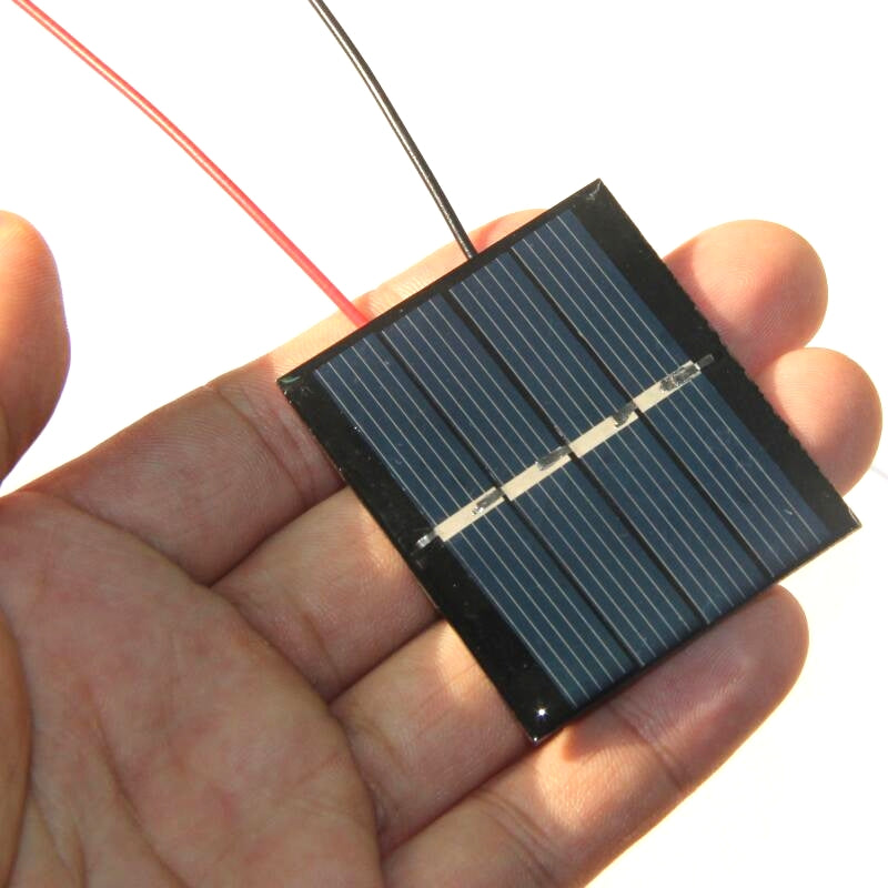 0.36W 2V Mini Solar Cell+Cable Polycrystallinel/Module DIY Solar Panel Charger For 1.2V Battery 42.5*48.5MM Study Kits 5pcs/lot