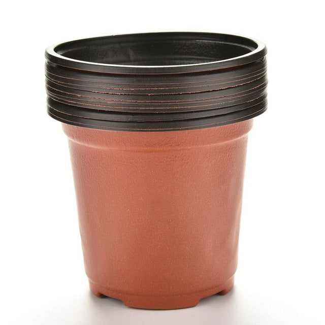 10 Pcs/set Plastic Round Flower Pot Nursery Pots Planter Home Garden Decorating Supplies 9 X 8 X 6cm