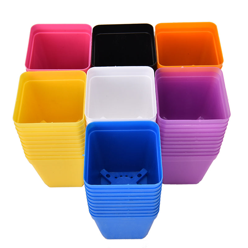 10PCS New Square Multicolour Nursery Pots Plastic Plants Pot Flower Plastic Planter Nursery Garden Desk Home Decor 7 Colors
