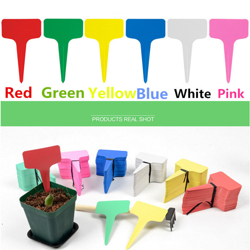 100pcs/pack 10x6cm Plastic Plant T-type Tags Markers Nursery Garden Labels Home Garden Tool IC876944