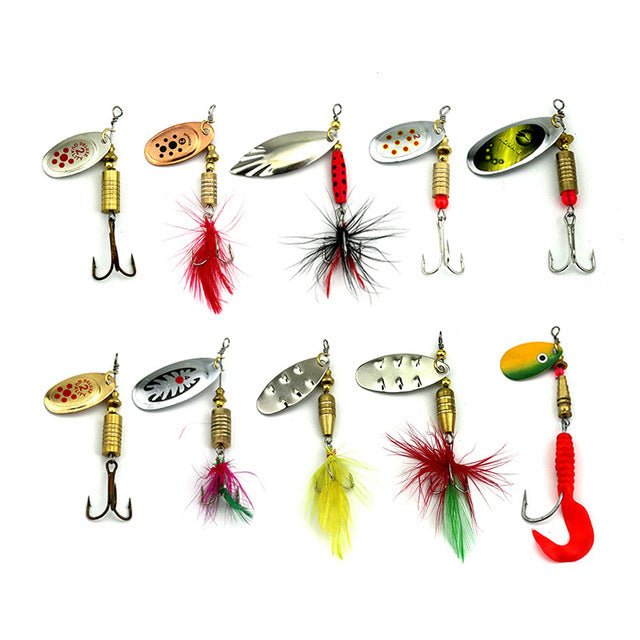 10pcs Metal Fishing Lure Spoon Spinnerbait For Fishing Isca Artificial Bass Bait Sequins Kit with Feather Hook 4-10g