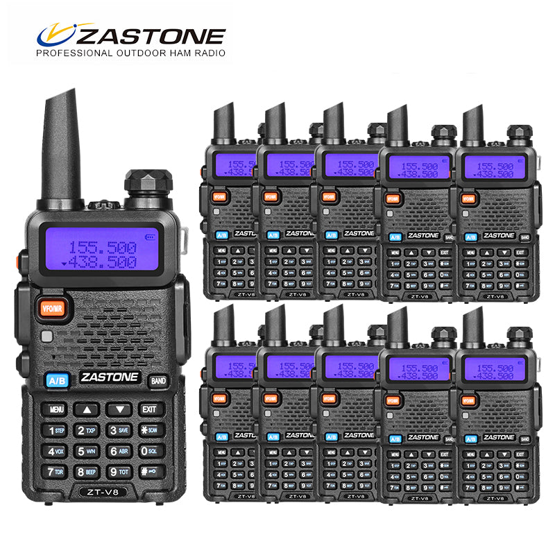 10pcs Zastone ZT-V8 Dual Band Radio 136-174MHz/400-520MHz Walkie talkie communication equipment Same As uv-5r hf transceiver