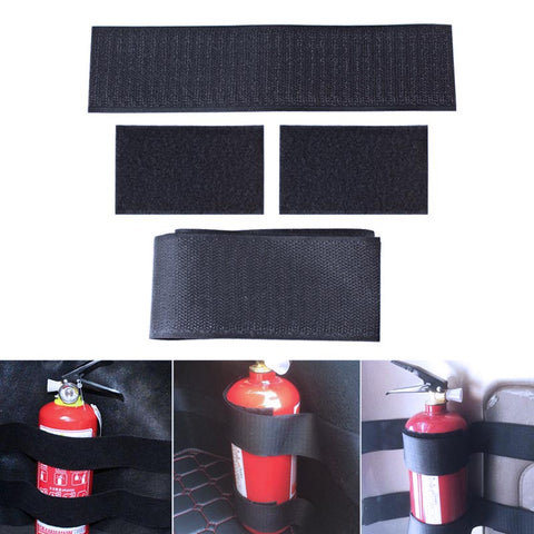 4pcs Car Trunk Receive Store Content Bag Storage Network Fixed Fire Extinguisher Magic Strip Fixed Belt Car-styling Magic Tape