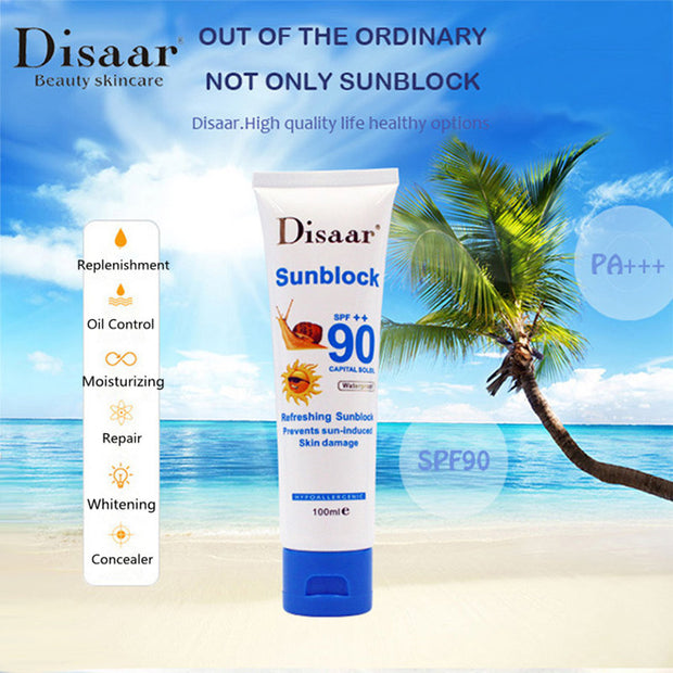 DISAAR SPF 90++ Sunscreen Cream Waterproof UVA UVB Radiation Sunblock Foundation Whitening Cream Isolation Facial Sunscreen 100g