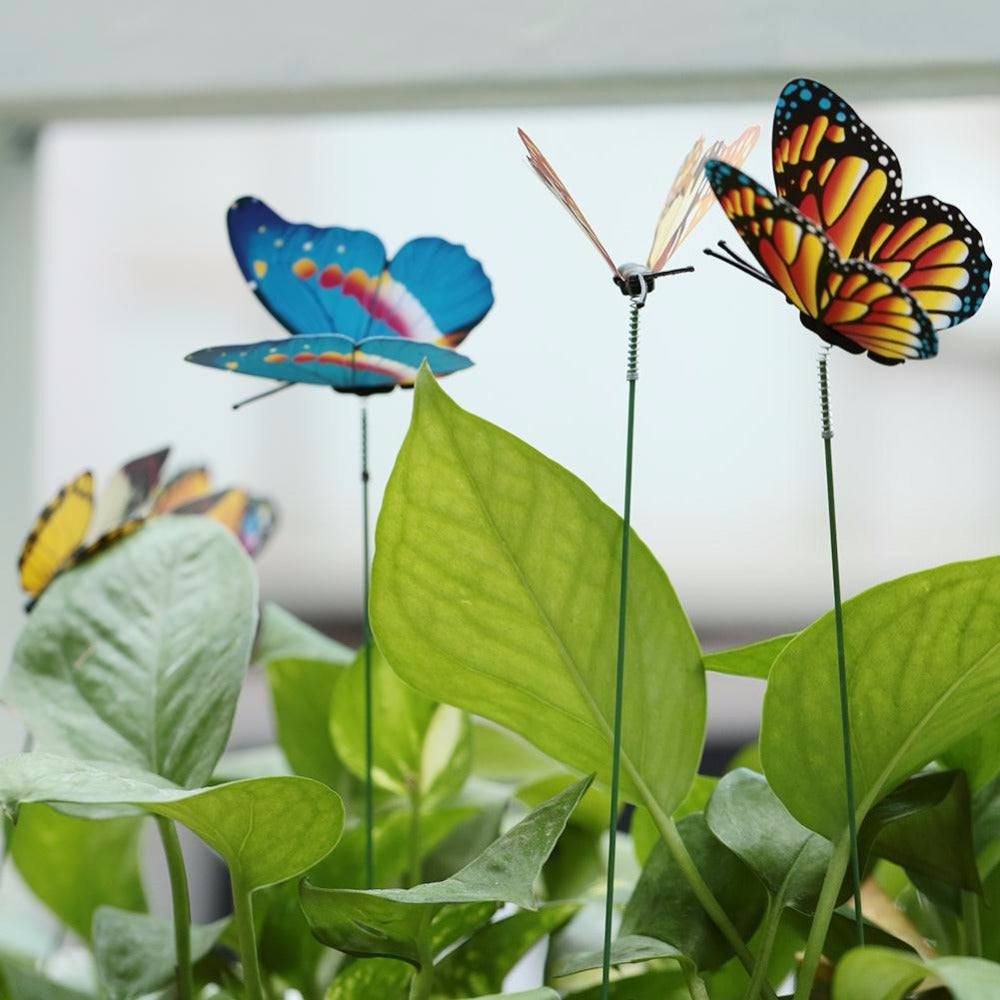 15PCS/Lot Artificial Butterfly Garden Decorations Simulation Butterfly Stakes Yard Plant Lawn Decor Fake Butterefly Random Color