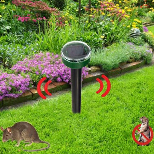 Garden Yard New Useful Solar Power Eco-Friendly Ultrasonic Gopher Mole Snake Mouse Pest Reject Repeller Control
