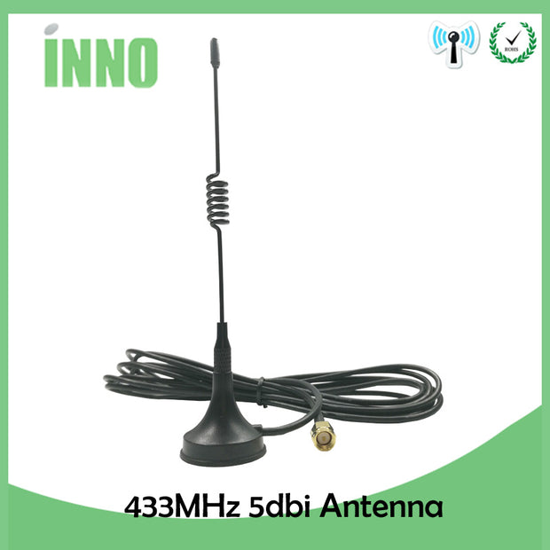 1pcs 5dbi 433Mhz GSM Antenna SMA Male Connector Straight with Magnetic base for Ham Radio Signal Booster Wireless Repeater