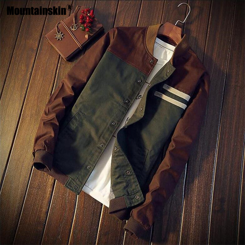 Mountainskin 4XL New Men's Jackets Autumn Military Men's Coats Fashion Slim Casual Jackets Male Outerwear Baseball Uniform SA461