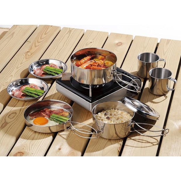 Camping Outdoor Tableware Stainless Steel Bowls  Folding Cooking Set Hiking Taveling Cookware With Net Bag