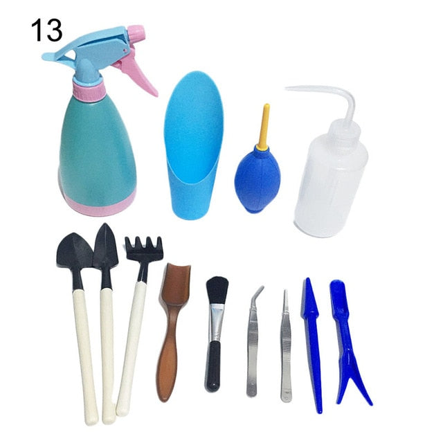 Mini Garden Hand Tools Plastic Mini Plant Flower Transplanters Set Succulent Potting Tools Miniature Planting Gardening Tool Set