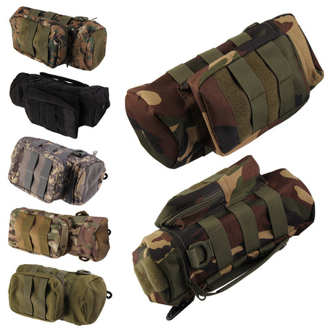 High Quality Outdoor Nylon Tactical Molle Zipper Water Bottle Pouch Bag Kettle Waist Bag with Mess Side Pouch Water Storage Bag