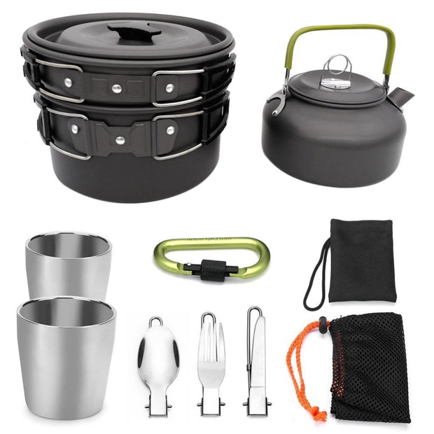 Outdoor Camping Hiking Picnic Teapot Pot Set Portable Cookware Mess Kit Carabiner Camping Cookware Stove With Tea Cup Coffee Cup