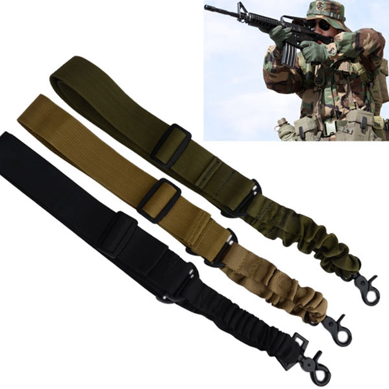 1 PC Adjustable Tactical Gun Rifle Sling One Single Point Bungee Rifle Gun Sling Strap with Metal Hook Safety Belt Rope 3Color