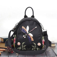 Dragonfly Flower Embroidery All Fit Women Backpack