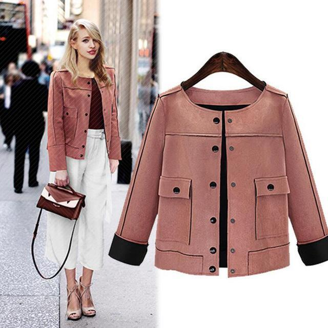 Fashion Vintage Chamois Leather Suede Short Jacket Coat