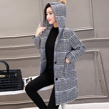 Classic Houndstooth Hooded Woolen Jacket Coat