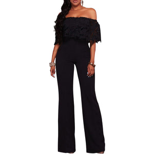 Fashion Sexy Lace Off Shoulder Jumpsuit Romper